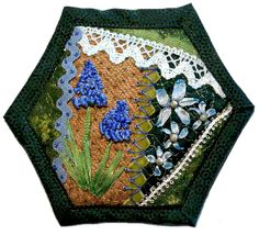 How to make a quilt as you go crazy patchwork hexagon~ Ribbon Embroidery Tutorials p3