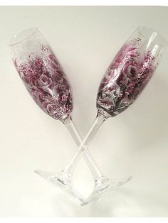 Hand Painted Crystal Champagne Glasses  Rich by HandPaintedPetals, $68.00