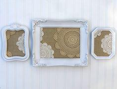 burlap and doilies in frames http://www.etsy.com/shop/JennasBeachRetreat