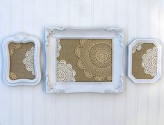 burlap and doilies in frames http://www.etsy.com/shop/JennasBeachRetreat