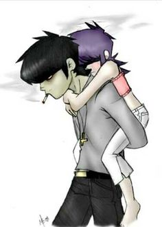 Hurry up and get on my back~murdoc X noodle (what a cute older brother or father type for noodle) Gorillaz Noodle, Gorillaz Art, 2d And Noodle, Sunshine In A Bag, Friends Like Family, Russel Hobbs, Romance And Love, Art Sketchbook, Cool Bands