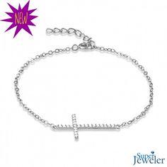 NEW ARRIVAL!: Sideways Cross Cubic Zirconia Bracelet In Sterling Silver - $29.99