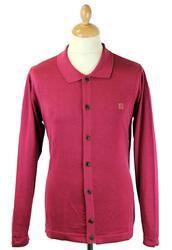 GABICCI VINTAGE Retro Mod L/S Knit Polo Cardigan F