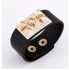 Fashion Punk Gothic Style Leather Gold Rivets Bracelet Chic Metal Spike Leather Bangle for men