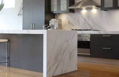 Calacatta Marble Kitchen Island Home Design Ideas - Waterfall Edge The Bathroom Vanity Shower Door Granite Cool Ideas, 31 Ideas, Stone Countertops, Kitchen Countertops, Granite Benchtop, Granite Kitchen, Design Set, Grey Kitchens, Home Kitchens