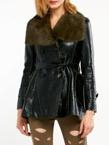 Faux Fur Collar Faux Leather Coat - Black And Green M