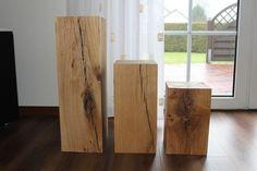 HOLZKLOTZ Massiv Eiche DEKO Klotz 20 x 20cm Holzblock Eichenklotz Beistelltisch
