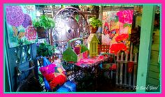Featured here from our Bloom collection we have a butterfly house, birdhouse, flag, wall art, caddy, and outdoor pillow!