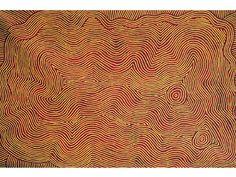 Tingari by Warlimpirrnga Tjapaltjarri, 2010. 100 x 180 cm. Acrylic on linen. © Warlimpirrnga Tjapaltjarri. Licensed by Aboriginal Artists Agency
