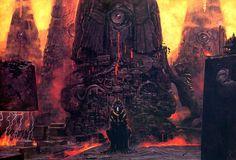 Watchtowers by Wayne Barlowe oils 1998