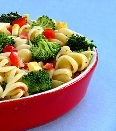 Light and Healthy Pasta Salad - corkscrew pasta - red bell pepper - zucchini or cucumber - broccoli - poppy seed dressing