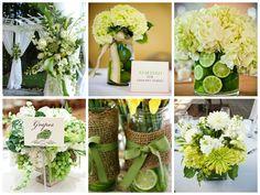 Цветы в зеленом свадебном декоре