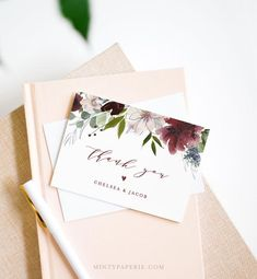 Thank You Note Card Template, Printable Burgundy Floral Greenery Wedding / Bridal Shower Folded Card Card Templates Printable, Printable Thank You Cards, Thank You Card Template, Thank You Note Cards, Wedding Thank You Cards, Wedding Canvas, Christmas Thank You, Wedding Templates, Wedding Quotes