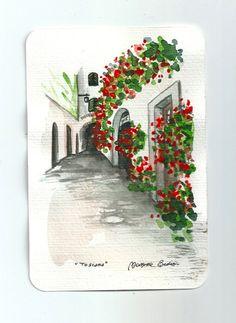 Origine italienne paysage ART Postalcard peinture aquarelle originale italienne paysage « Toscane » Italie, watercolor