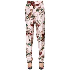 Dolce & Gabbana Women Cats & Flowers Printed Silk Twill Pants ($1,245) ❤ liked on Polyvore featuring pants, pink, wide leg pants, floral printed pants, elastic waist wide leg pants, pink pants and floral wide leg trousers