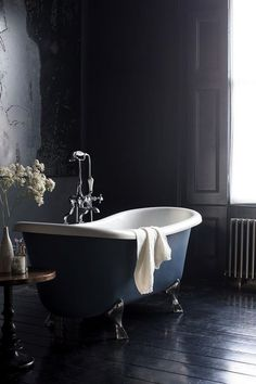 Traditional bathroom 396598310930249762 - This gallery features beautiful bathrooms with clawfoot tubs. Below you'll find pictures of a variety of clawfoot bathtub styles so you can find the one you like best and is ideal for your space. Glamorous Bathroom, Beautiful Bathrooms, Dark Bathrooms, Small Bathroom, Luxury Bathrooms, Modern Bathrooms, Master Bathrooms, Bathroom Layout, Bad Inspiration