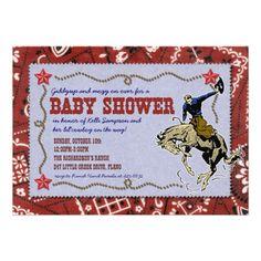 Western Cowboy Baby Shower Invitation