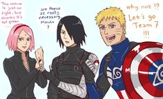 Team 7 as Captain America, Winter Soldier (Bucky), and Black Widow