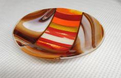 Sizzling Sedona Sunset Fused Glass Bowl by JanuaryMayDesigns