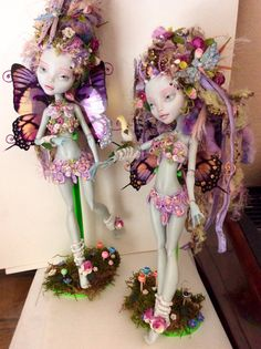 The fairy twins are off to the lollipop forest where lollipops grow out of the ground ! Fairy #2 had her factory hair and paint removed and she was