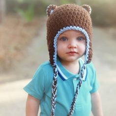 Blue and Brown Bear with Braids Baby and Toddler Boy Hat Baby Beanie Hats, Baby Boy Hats, Natural Hairstyles For Kids, Bear Ears, Cute Hats, Brown Bear, Toddler Boys, Cute Babies, Braids