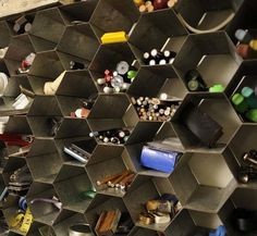 Honeycomb Wall Storage This honeycomb unit graces the studio wall of artist d. It's made from galvanized shelving salvaged from a winery. Wall Storage, Craft Storage, Pen Storage, Storage Ideas, Shelving Ideas, Art Studio At Home, Home Art, Vins Nicolas, Art Studio Organization