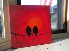 Sunset Blackbird Painting