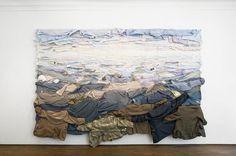 Installation by Kaarina Kaikkonen. the artist uses often men's old shirts and jackets.
