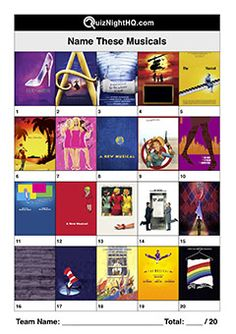 Guess the name of these musicals from their poster. and all that jazz. This high-quality picture trivia round is perfect for your next quiz night! Quizzes And Answers, Pub Quizzes, Trivia Questions And Answers, Film Quiz, Night High, Quizes, Picture Logo, Poster Pictures, Game Ideas