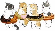 Cute Animal Drawings Kawaii, Cartoon Drawings, Kittens Cutest, Cute Cats, Hippie Art, Animal Sketches, Cat Drawing, Pretty Cats, Cute Illustration