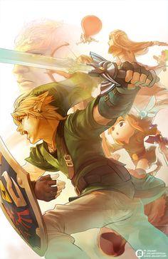 Link, Toon Link, Young Link, 8-Bit Link, Ganondorf, Zelda and Tingle.