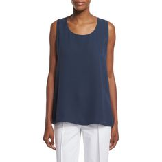 Lafayette 148 New York Davis Sleeveless Silk Blouse (23.610 RUB) ❤ liked on Polyvore featuring plus size women's fashion, plus size clothing, plus size tops, plus size blouses, cloud, silk top, blue blouse, scoop neck blouse, sleeveless silk blouse and blue sleeveless blouse