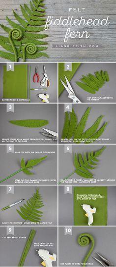 DIY Felt Ferns and Fiddle Heads www.LiaGriffith.com #feltcraft #feltfern #feltproject #diybotanical #diyfern #diyfelt