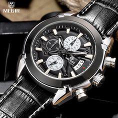 18cea842ee0 ALEXIS Megir fashion leather sports quartz watch for man military  chronograph wrist watches men army style 2020 free