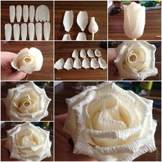 What do you think can be made out of corrugated paper? Check out the corrugated paper rose below. Do they look just wonderful? What do you think can be made out of corrugated paper? Check out the corrugated paper rose below. Do they look just wonderful? Handmade Flowers, Diy Flowers, Rose Flowers, Fabric Flowers, Wedding Flowers, Diy Paper, Paper Crafts, Art Crafts, Diy Art