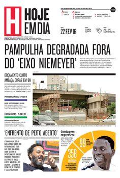 Capa do dia 22/02/2016 #HojeEmDia #Jornal #Notícias #News #Newspaper