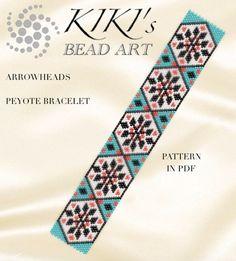 Peyote pattern for bracelet - Arrowheads ethnic inspired peyote bracelet pattern in PDF instant download