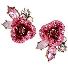 Betsey Johnson Glitter Rose Mismatch Stud Earrings Women's Pink ($30) ❤ liked on Polyvore