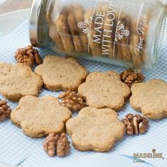 Walnut Cookies, Shortbread, Food Pictures, Biscuit, Deserts, Favorite Recipes, Sweets, Homemade, Cooking