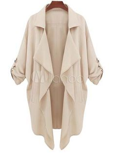 Solid Color Chiffon Open Front Fashion Trench Coat For Women - Milanoo.com
