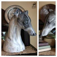 What We Think ©2011 Sarah Regan Snavely. Sculpture of Greyhound dog. In private collection in Michigan.