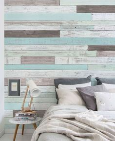 Reclaimed Painted Beach Wood Mural Wall Art Wallpaper - Peel and Stick