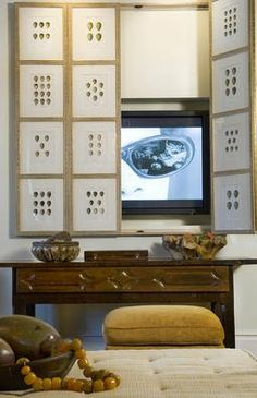 Install Folding Screen to hide flat screen on wall Evelyn Avery | Paula Grace Designs