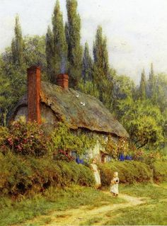 """Children on a Path outside a Thatched Cottage, West Horsley, Surrey"" by Helen Allingham (1848-1926)."