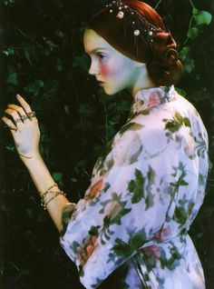 """""""Like a Painting"""". Lily Cole by Miles Aldridge for Vogue Italia February 2005"""