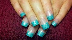 Aqua glitter acrylic nail tips with silver tiger stripes