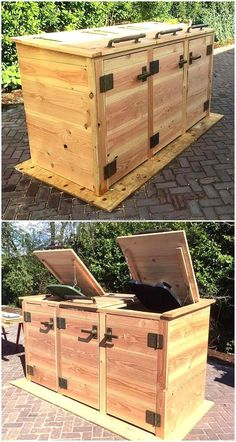 Popular Reclaimed Wood Furniture And Decor Ideas For Living Green - recycling containers Trash Can Storage Outdoor, Garbage Can Storage, Garbage Shed, Bin Storage, Pallet Patio Furniture, Reclaimed Wood Furniture, Diy Furniture, Repurposed Furniture, Industrial Furniture