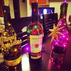 DIY#Wine bottles crafts# christmas lights# wine bottles