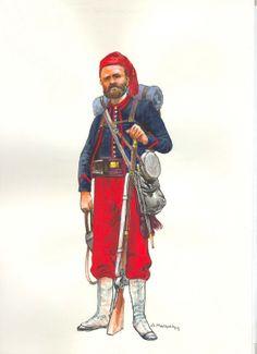 """Infante """"zuavo"""" perteneciente a las tropas de Pedro León Gallo, Guerra Civil de 1859 (Museo Histórico y Militar)"""