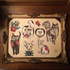Tattoo flash. Cats.